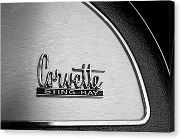 1967 Chevrolet Corvette Glove Box Emblem Canvas Print by Jill Reger
