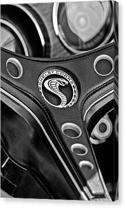 1969 Shelby Gt500 Convertible 428 Cobra Jet Steering Wheel Emblem Canvas Print by Jill Reger