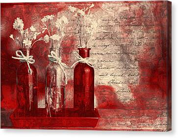 1-2-3 Bottles - Rd2vt2b Canvas Print by Variance Collections