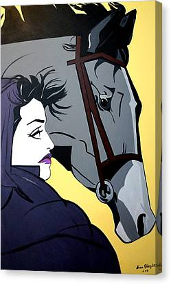 Canvas Print featuring the painting 2 Beauties by Nora Shepley