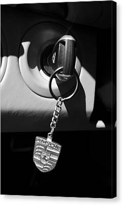 2008 Porsche Key Ring Black And White Canvas Print by Jill Reger