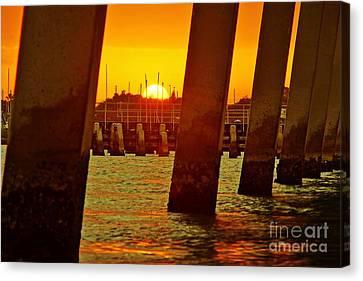 2013 First Sunset Under North Bridge 3 Canvas Print by Lynda Dawson-Youngclaus