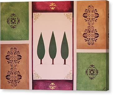 3 Cypress Canvas Print by Cindy Micklos