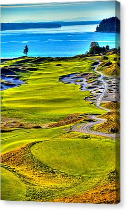 #5 At Chambers Bay Golf Course - Location Of The 2015 U.s. Open Tournament Canvas Print by David Patterson