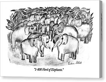 1-800 Herd Of Elephants Canvas Print by Victoria Roberts