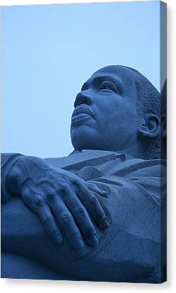 Canvas Print featuring the photograph A Blue Martin Luther King - 1 by Cora Wandel