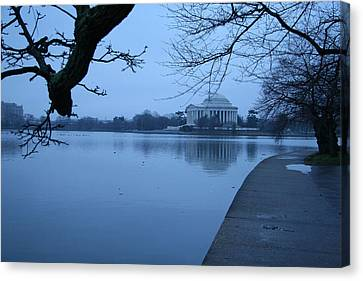 Canvas Print featuring the photograph A Blue Morning For Jefferson by Cora Wandel