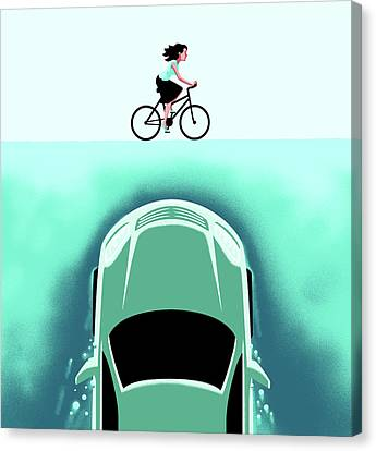 A Car Emerges From The Deep Toward A Bicyclist Canvas Print by Christoph Niemann