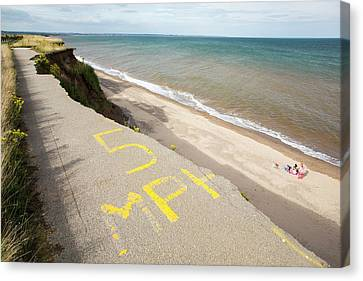 A Collapsed Coastal Road At Barmston Canvas Print by Ashley Cooper