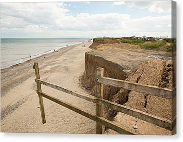 A Collapsed Coastal Road At Easington Canvas Print by Ashley Cooper