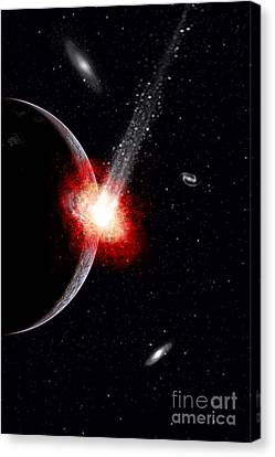 A Comet Hitting An Alien Planet Canvas Print