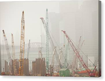 A Construction Site In Hong Kong Canvas Print by Ashley Cooper