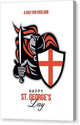 St George Day Canvas Print - A Day For England Happy St George Greeting Card by Aloysius Patrimonio