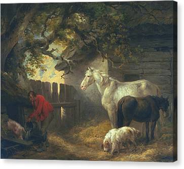 A Farmyard Canvas Print by George Morland