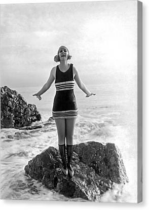 A Flapper In Her Bathing Suit Canvas Print by Underwood Archives