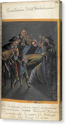 Lute Canvas Print - A Group Of Musicians by British Library