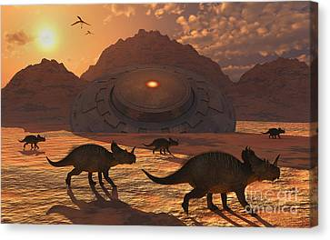 A Herd Of Dinosaurs Walk Past A Flying Canvas Print by Mark Stevenson