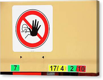 Loader Canvas Print - A Keep Off Sign On A Low Loader by Ashley Cooper