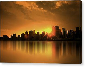 Canvas Print featuring the digital art A Manhattan Sunset by Nina Bradica