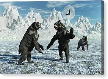 Four Animal Faces Canvas Print - A Pair Of Arctodus Bears by Mark Stevenson