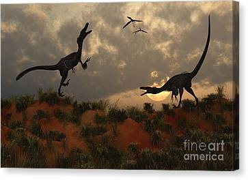 Four Animal Faces Canvas Print - A Pair Of Velociraptors Involved by Mark Stevenson