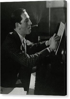 Books Canvas Print - A Portrait Of George Gershwin At A Piano by Edward Steichen