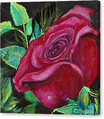 Canvas Print featuring the painting A Rose For My Lily by Cathy Long