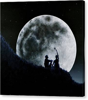 Canvas Print featuring the painting A Sign Of Change Under A Full Moon Rising by Ric Nagualero