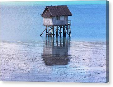 A Small Fishing House In The Water Canvas Print