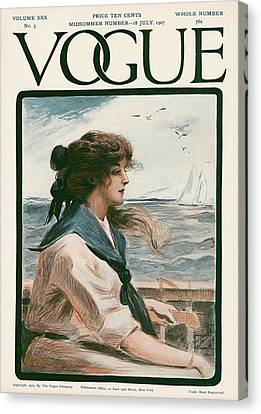 A Vintage Vogue Magazine Cover Of A Woman Canvas Print by G. Howard Hilder