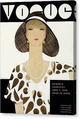 A Vintage Vogue Magazine Cover Of A Woman Canvas Print by Harriet Meserole