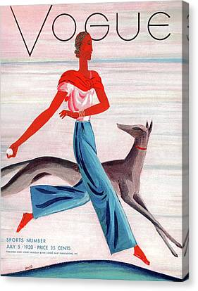 A Vintage Vogue Magazine Cover Of An African Canvas Print by Eduardo Garcia Benito