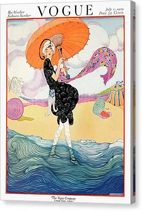 Magazine Canvas Print - A Vogue Cover Of A Woman On A Beach by Helen Dryden