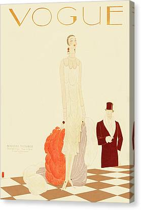 Pearl Necklace Canvas Print - A Vogue Magazine Cover Of A Woman by Eduardo Garcia Benito