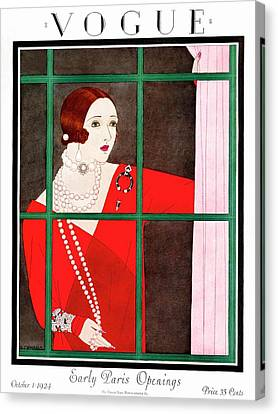 Pearl Necklace Canvas Print - A Vogue Magazine Cover Of A Woman by Harriet Meserole
