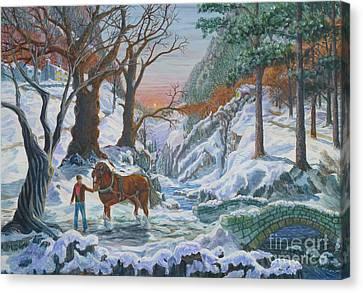 A Winter Sunset Canvas Print by Anthony Lyon