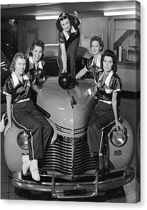 A Women's Bowling Team Canvas Print by Underwood Archives