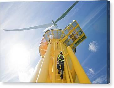 A Worker Climbs A Turbine Canvas Print