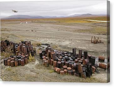 Abandoned Barrels Of Leaking Waste Oil Canvas Print