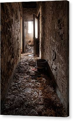 Abandoned Building - Hallway To Ladies Room Canvas Print by Gary Heller