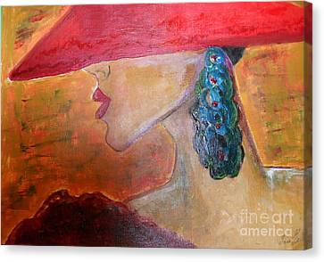 Canvas Print featuring the painting Abby Marion by Iris Gelbart