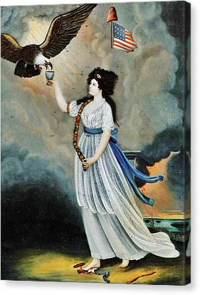 Abijah Canfield Liberty In The Form Of The Goddess Of Youth Giving Support To The Bald Eagle 1800 No Canvas Print by MotionAge Designs