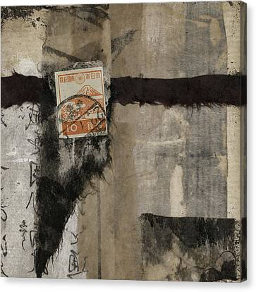Abstract Japanese Collage Canvas Print by Carol Leigh