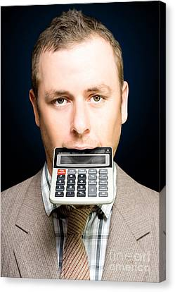 Accountant Number Crunching On Calculator Canvas Print by Jorgo Photography - Wall Art Gallery