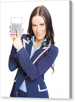 Accountant Pointing To Calculator With Copyspace Canvas Print by Jorgo Photography - Wall Art Gallery