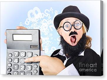 Accountant Pointing To Massive Tax Return Saving Canvas Print by Jorgo Photography - Wall Art Gallery