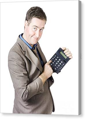 Accounting Business Man Holding Calculator Canvas Print by Jorgo Photography - Wall Art Gallery