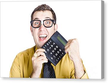Accounting Man Winning With Calculator Canvas Print by Jorgo Photography - Wall Art Gallery