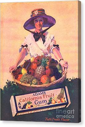 Adams California Fruit Gum 1910s Usa Canvas Print by The Advertising Archives