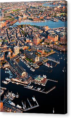 Boston Bridges Canvas Print - Aerial Morning View Of Harbor by Panoramic Images